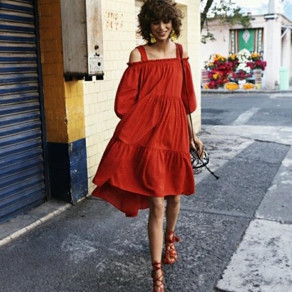 a59e3b3eec40 H&M Dresses | Hm Blood Orange Off The Shoulder Dress M1 | Poshmark